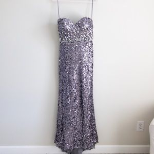 Gray/purple sparkly sequin prom/homecoming dress